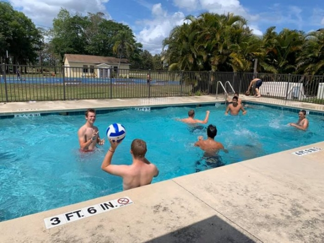 kids playing in the pool